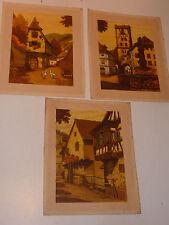VINTAGE 3 tableau D'ALSACE ribeauville KIENTZHEIM kaysersberg Jules KLIPPSTIEHL