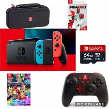 Nintendo Switch/doc ,Neon Red/Blue JoyCon, 2Games, Pro Controller, Carrying Case