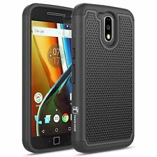 Moto G4 / Moto G4 Plus Case, Heavy Duty Dual Layer Armored Hybrid Case - Black