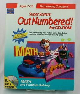 Vintage SUPER SOLVERS Out Numbered! LEARNING COMPANY MAC / WIN CD-ROM Big Box