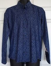 NWT Steel & Jelly Cotton Blend Long Sleeve Shirt Blue Floral Contrast Cuffs Sz M