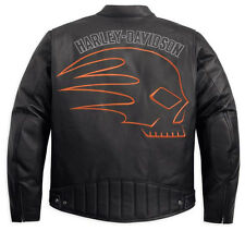 Harley Davidson Men's SKULLER Black Leather Jacket Orange Skull New M 97084-12VM