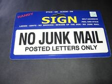 No Junk Mail Sign - 20 x 6cm  Perfect stick on Letters Only sign