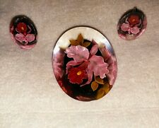 Vintage 40's Clear Oval Lucite Brooch/Earrings Embedded with Red Poppy Flower