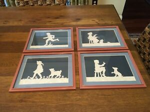 SET (4) Framed & Matted w Glass Scherenschnitte Paper Cut Art - Nursery Rhymes