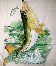 GUY HARVEY POCKET TEE SHIRT, LARGE, STRIPED BASS, WHITE