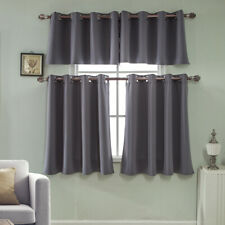 Solid Blackout Half Short Curtains Eyelet Ring Cafe Kitchen Bedroom Window Decor