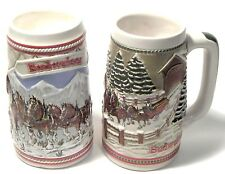 TWO Budweiser Beer Stein's - 1985  MOUNTAINS & COVERED BRIDGE--creamarte-Brazil
