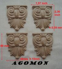 Wood Carved Rosette set 4 pc Onlay Applique Sticker Home Decor Furniture Craft