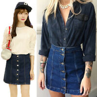Women Button Front Mini Denim Skirt Casual High Waist A-line Jeans Skirt、New