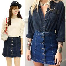 Women Button Front Mini Denim Skirt Casual High Waist A-line Jeans Skirt ATAU