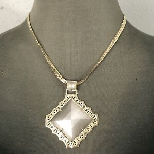 Kendra Scott Savannah Statement Necklace Gold Plated with Gray Stone Pendant