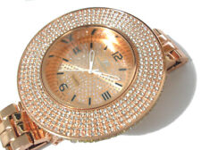 Rose Gold Metal Huge Case Bracelet Techno King Men's Watch w Crystals Item 2297