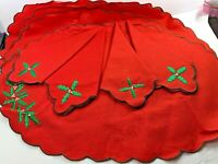"CHRISTMAS Red Holley Placemats And Napkins 18"" x 13"" Set of 4 Each 100% Cotton"