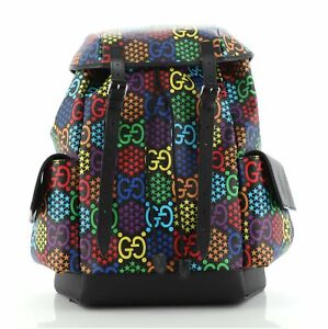 Gucci Double Pocket Belt Backpack Psychedelic Print GG Coated Canvas Medium