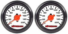 """Two Air Gauges Dual Needle 200psi Air Ride Suspension System 2"""" White Face LED"""