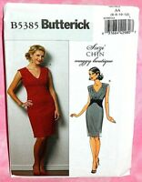 Uncut Butterick Sz 6-12 V-Neck Cocktail Party Dress Pattern5385 Contrast Midriff
