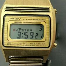 Seiko A639-5009 ~ GOLD COLOR DIGITAL LCD ~ ALARM CHRONOGRAPH ~ CIRCA 1980's