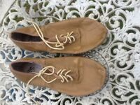 ENERGETIKS Tan Leather Lace Up Jazz Shoes Split Sole*size 9