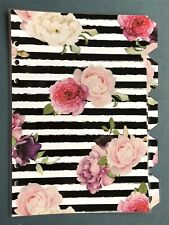 A5 Filofax Organiser Dividers in Beautiful Rose & Black Stripe - Fully Laminated