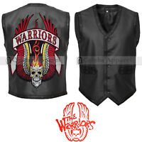 PUNK RAVE Rock Black Warrior Leather Biker Men's Leather Vest Jacket
