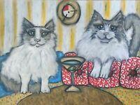 Ragdoll drinking Martini Pop Art Print 5 x 7 Cat Collectible Signed Artist KSams