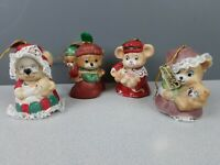 Caring Critters Chimers bells hanging Christmas ornaments set of 4