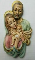 Vintage Ceramic Nativity Wall Hanging Plaque Jesus Mary Joseph Holy Family 4 x 8