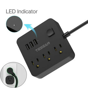 Small Travel USB Power Strip with 3 Outlets 5 ft Extension Cord Flat Plug Switch