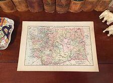 Original 1894 Antique Map WASHINGTON STATE Seattle Spokane Tacoma Bellevue Kent