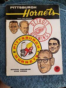 1/14/63 PITTSBURGH HORNETS VS DETROIT RED WINGS GORDIE HOWE, SAWCHUK, GADSBY