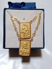 18k Scapular Gold Lady of Carmel with heart of Jesus Medium Medal Chain 2mm
