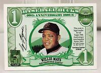 2001 Topps Archives Bucks WILLIE MAYS Giants Baseball Card