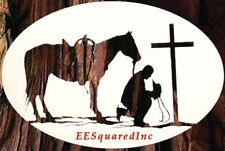 Cowboy Praying Static Cling Window Decal New Oval 12x8 Country Decor for Glass