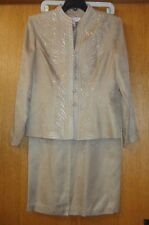 Woman's sz 8 - Tan tone-on-tone print SKIRT SUIT - Adrianna Papell - Very NICE