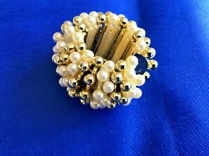 New Hair Scrunchie Ivory Pearl & Gold Beads