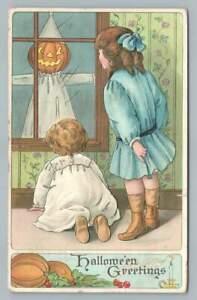 Scary Jack o Lantern Figure at Window HALLOWEEN Antique Embossed Postcard 1914