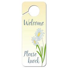 Welcome Please Knock with Daisies Plastic Door Knob Hanger Sign