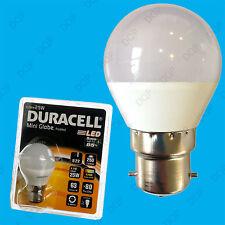 2x 4W (=25W) Duracell LED Frosted Mini Globe BC B22 Round G45 Light Bulb Lamp