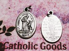 """Saint St. Francis & wolf - Peace Prayer - Oxidized Italian silver 1 1/8"""" Medal"""