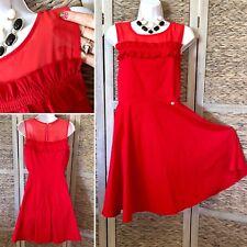 NWT Rinascimento Illusion Fit & Flare Red Ruffle Dress Keyhole Stretch M/L Italy