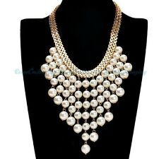 Fashion Gold Chain White Pearls Collar Pendant Bib Choker Jewelry Necklace