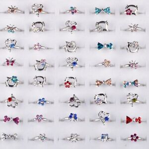 10-100pcs Adjustable Wholesale Mix Crystal Children Kids Silver Rings Tail Ring