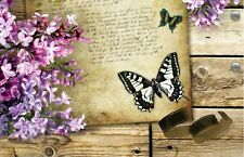 BUTTERFLY PURPLE FLOWERS CANVAS PICTURE POSTER PRINT WALL ART UNFRAMED 1190