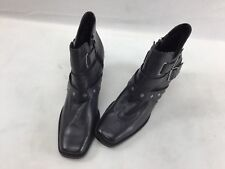 Harley Davidson Black Leather Buckle Ankle Boots Size 11M  F2644/