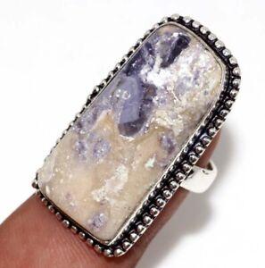 Purple Fluorite 925 Silver Plated Handmade Gemstone Ring us 7 Jewelry GW