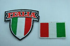 2x ITALY ITALIAN FLAG SHIELD Embroidered Sew Iron On Cloth Patch Badge APPLIQUE