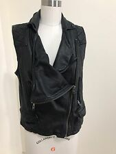 All Saints Black Leather Motorcycle Biker Vest Size UK 14 (US 10) Authentic