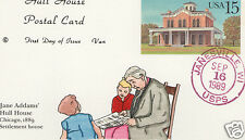 VAN NATTA UX134 JANE ADDAMS HULL HOUSE CARD HAND PAINTED HP FIRST DAY COVER FDC