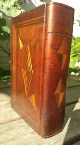 Vintage or Antique Wood Book Design Puzzle Box Hidden Storage Handmade